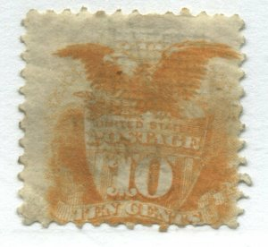 USA 1869 10 cents mint o.g. significant paper adherence on back