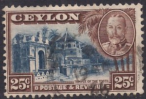 Ceylon 1935 - 36 KGV 25ct Brown & Blue used SG 375 ( D1181 )