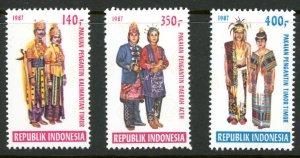 Indonesia 1317-1319 MNH mint National costumes dress      (Inv 001088.)