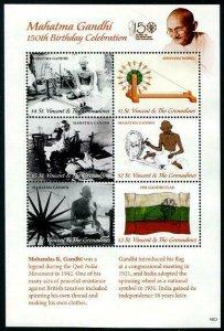 HERRICKSTAMP NEW ISSUES ST. VINCENT Gandhi Sheetlet of 6 Diff.