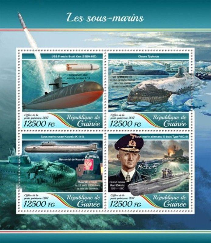 Guinea - 2017 Submarines - 4 Stamp Sheet - GU17425a