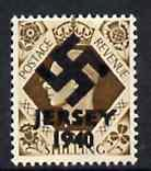 Jersey 1940 Swastika opt on Great Britain KG6 1s bistr-brown