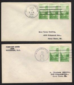 US 1934 National Park Scott 740 1¢ Stamp 2 FDC Yosemite & Washington Cds