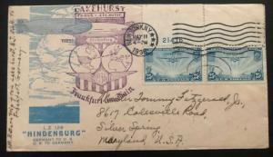 1936 New York City USA Hindenburg Zeppelin First FLight cover Silver Spri LZ 129