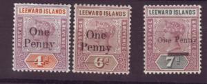 J16723 JLstamps 1902 leeward islands set mh #17-9 queen ovpt,s