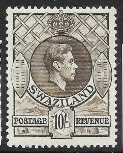 SWAZILAND SG38 1938 10/= SEPIA p13x13 MNH