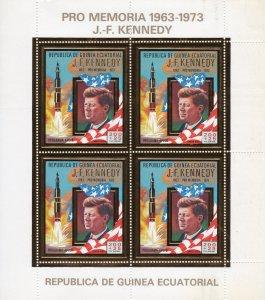 Equatorial Guinea 1973 Mi#306 John F.Kennedy/Space Sheetlet (4) Perforated MNH
