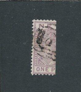 NEVIS 1883 ½d on HALF 1d LILAC MAUVE OVPT GU SG 35 CAT £55