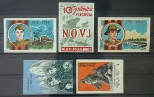 Match Box Labels ! military army police solider guns novj czechoslovakia GN5