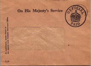 On his Majesty's Service 1956 Official Paid no stamp window envelope