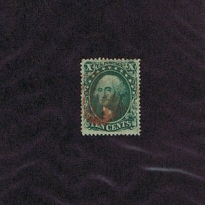SC# 33 USED 10 CENT WASHINGTON 1857, RED GRID CANCEL, 2020 PF CERT GRADED XF 90