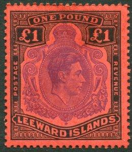 LEEWARD ISLANDS-1952 £1 Violet & Black/Scarlet Perf 13 Sg 114c LIGHTLY MOUNTED/M