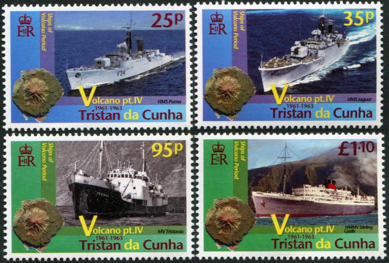 Tristan Da Cunha. 2013. Ships of the Volcano Period (MNH OG) Set of 4 stamps