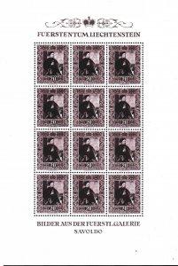 Liechtenstein 1952 Scott 261-63 Zum 250-52 Paintings Sheets of (12) Stamps XF/NH