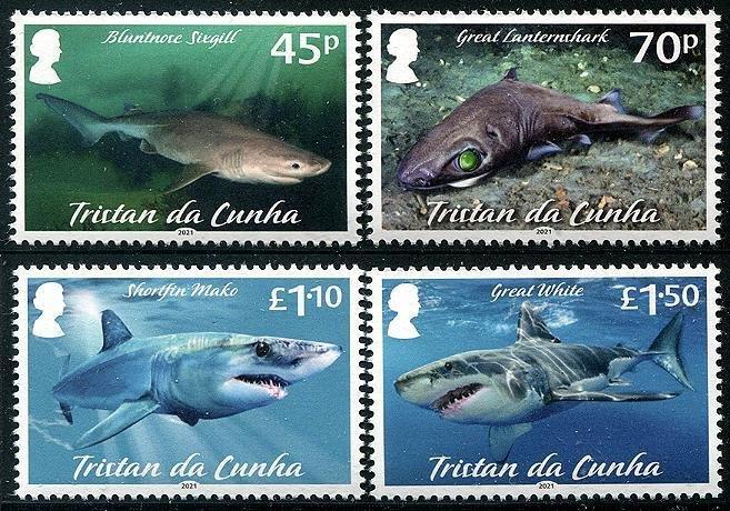 2021Tristan Dea Cunhe Sharks II (4) (Scott NA) MNH