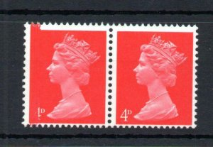 4d MACHIN UNMOUNTED MINT PAIR + PRINTING VARIETY TO LEFT HAND STAMP