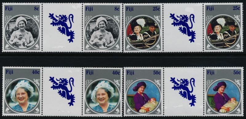 Fiji 531-4 Gutter Pairs MNH Queen Mother 85th Birthday