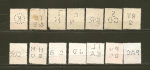 Great Britain Lot of 14 Used Perfins KGV KGVI & QEII