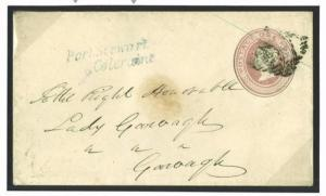 J194a 1848 GB USED IRELAND *Port Stewart Coleraine* Receiver Penny Pink Cover