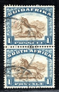 SOUTH AFRICA Stamp 1s Pair{2} Wildebeest Used BBLUE150