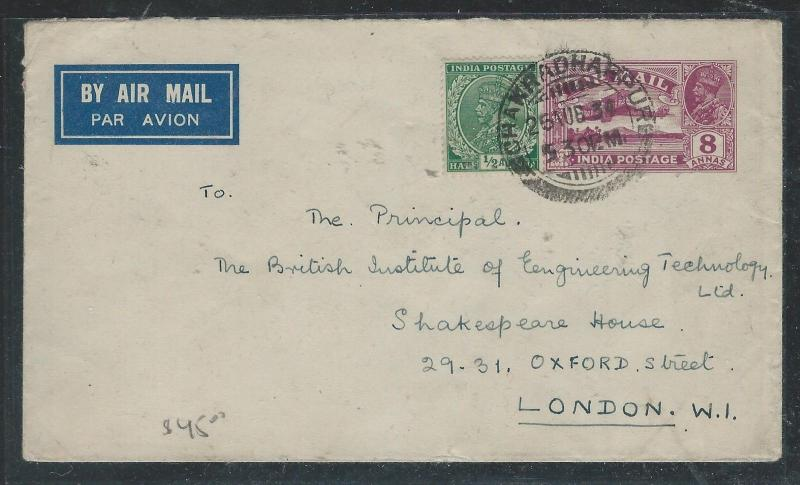 INDIA (P2806B) KGV 1934 8A A/M PSE UPRATED 1/2A TO ENGLAND