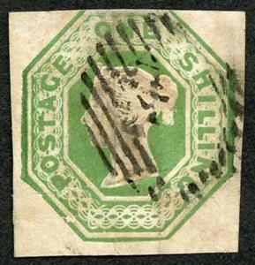 SG55 1/- Pale Green Embossed Cat 1000 pounds