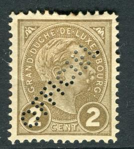 LUXEMBOURG; 1895 classic Grand Duke Official PERFIN on Mint hinged 2c.