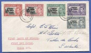 TRISTAN DA CUNHA 1952 FDC, SG 1-5 Overprint on KGVI St Helena stamps