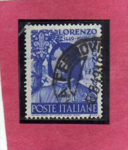 ITALIA REPUBBLICA ITALY REPUBLIC 1949 LORENZO IL MAGNIFICO USATO - USED - OBL...