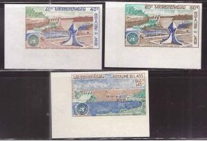 LAOS Scott 228-229, C88 MNH** Dam Project 1972 Imperforate set