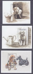 Burkina Faso MNH 1999 3 Different Mini Sheets Dogs & Puppies Very Fine