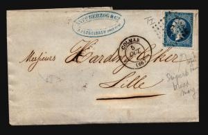 France 1860 Cover to Lille / No Writing Inside - Z15714