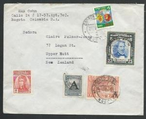 COLOMBIA 1953 airmail cover to USA - A opt + Cinderella....................61305