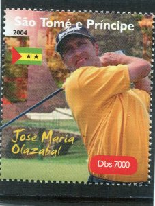 Sao Tome & principe 2004 GOLF JM. Olazabal Spanish 1v Perforated Mint (NH)