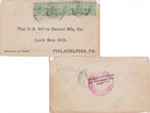 India 1/2a KGV (5) 1915 Calcutta G.P.O., F.A. to Philadelphia, Penn. India Ce...