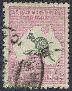 AUSTRALIA 1929 KANGAROO 10/- SMALL MULTI WMK USED