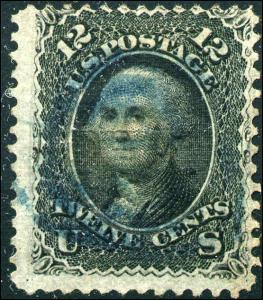 1868 US Stamp #85E 12c Used Z Grill Blue Cancel Catalogue Value $2400 Certified