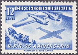 Uruguay # 600 mnh ~ 12¢ Airplane and Stagecoach, UPU