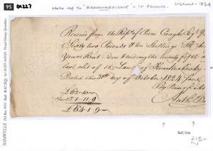DA227 1824 GB IRELAND REVENUES Embossed Receipt Reference 'Knocknabricky'