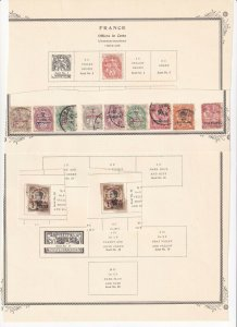 FRANCE 3 ALBUM PAGES COLLECTION LOT OFFICES COLONIES 38 STAMPS