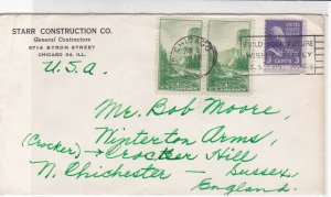U.S. 1953 Starr Construction Co. Chicago Slogan Stamps Cover to England Rf 33614