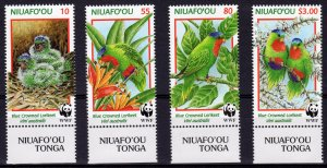 Tonga-Niuafo'ou  1998 Sc#202/205 WWF LORIKEETS Set (4) MNH