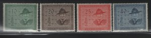 LIECHTENSTEIN 270-273 (4) Set, No Gum, 1953 Lord Baden- Powell