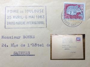 FRANCE 1963 Flamme Secap TOULOUSE-GARE (Hte-Garonne) Foire 25/4-6/5/63 Gd Marché
