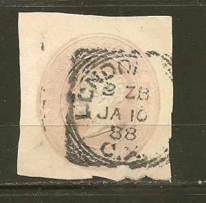 Great Britain Queen Victoria Postmarked London 1888 Cut Square Used