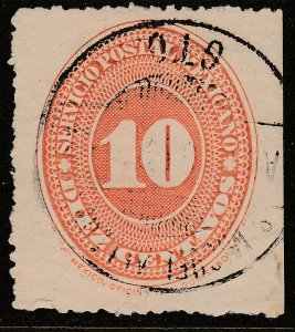 MEXICO 225 10¢ LARGE NUMERAL WATERMARKED, USED .F. (141)