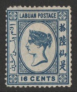 LABUAN : 1880 QV 16c blue, wmk crown CC.
