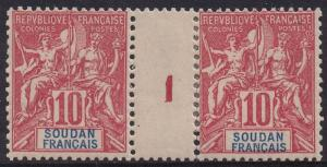 FRENCH SUDAN 1900 PEACE & COMMERCE 10C GUTTER PAIR