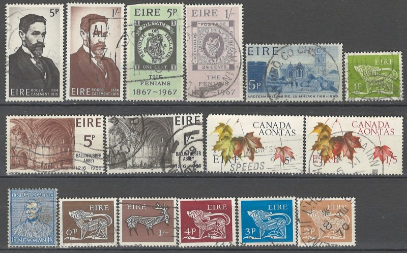 COLLECTION LOT # 3563 IRELAND 16 STAMPS 1954+ CV+$20