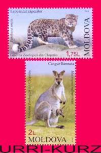 MOLDOVA 2013 Nature Fauna ZOO Animals Snow Leopard Kangaroo Wallaby 2v MNH